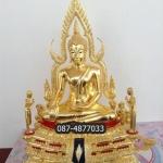 พระพุทธชินราชออกโดยวัดใหญ่ ขนาด9นิ้ว เนื้อทองเหลือง ลงรักปิดทองแท้ มีโมคคลา และสารีบุตร ออกโดยวัดใหญ่จังหวัดพิษณุโลก รหัส466