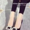 รองเท้าคัทชูผู้หญิงสีดำ ส้นสูง หัวแหลม ประดับมุก หรูหรา ไฮโซ ดูดี แฟชั่นเกาหลี