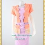3165ชุดทํางาน เสื้อผ้าคนอ้วนผ้าไทยสีส้มคลุมตัวในสีม่วงสไตล์เนี๊ยบเรียบง่ายสะดุดตาด้วยเส้นไหมชายเอว