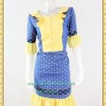 3188เสื้อผ้าคนอ้วนผ้าไทยสีฟ้าทอลายสองหน้ารีดกาวด้านในเพิ่มความเนี๊ยบให้ชุดอยู่ทรงสวยสวมใส่หรูมั่นใจ