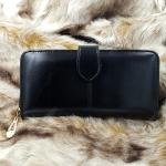 กระเป๋าสตางค์หนังเเท้สีดำ กระเป๋าสตางค์ผู้หญิง หนังนิ่ม นุ่มมือ