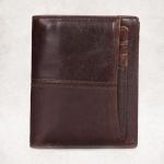 กระเป๋าสตางค์ผู้ชาย หนังแท้ 100% ทรงตั้ง Leather Insert Dark Brown