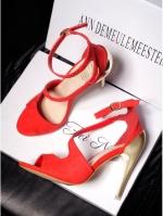 รองเท้าส้นสูงแบบรัดข้อเท้า เปิดหน้า แต่งส้นสีเงินเพิ่มความโดดเด่น (สีแดง)
