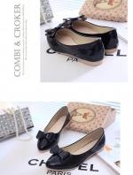 รองเท้าคัทชูส้นเตี้ยสีดำ หัวแหลม แต่งโบว์ วัสดุPU สไตล์หวาน น่ารัก แฟชั่นเกาหลี