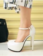 รองเท้าส้นสูงรัดส้น มีเข็มขัดรัดข้อเท้า (สีขาว)