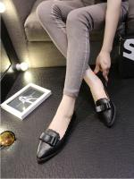 รองเท้าคัทชูส้นเตี้ยสีดำ หัวแหลม แต่งโบว์ หนังPU สไตล์ญี่ปุ่น ทรงสุภาพ ใส่ทำงานได้ แฟชั่นเกาหลี