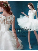 รหัส ชุดราตรีสั้น : AN525 ชุดแซก pre wedding ชุดราตรี after party ประดับดอกไม้ที่ชุดเพื่มความสวยหวานให้กับผู้สวมใส่ กระโปรงซ้อนเป็นชั้นๆ