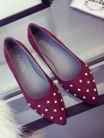 รองเท้าคัทชูส้นเตี้ยสีแดง หัวแหลม ประดับหมุด แนวย้อนยุค สวมใส่สบายเท้า แฟชั่นเกาหลี