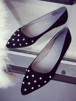 รองเท้าคัทชูส้นเตี้ยสีดำ หัวแหลม ประดับหมุด แนวย้อนยุค สวมใส่สบายเท้า แฟชั่นเกาหลี