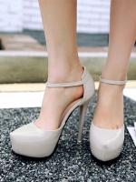 รองเท้าส้นสูงรัดส้น มีเข็มขัดรัดข้อเท้า (สีเทา)
