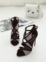 รองเท้าส้นสูงแบบรัดข้อเท้า สไตล์โรมัน (สีดำ)