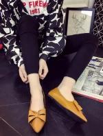 รองเท้าคัทชูผู้หญิงสีเหลือง หัวแหลม ประดับโบว์ วัสดุพียู ใส่ทำงาน ทรงสุภาพ แฟชั่นเกาหลี