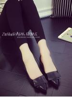 รองเท้าคัทชูผู้หญิงสีดำ ส้นเตี้ย หัวแหลม ดีไซส์ทันสมัย ดูดี ทรงสุภาพ แฟชั่นเกาหลี