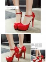 รองเท้าส้นสูงรัดส้น มีเข็มขัดรัดข้อเท้า (สีแดง)