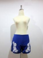 (สีน้ำเงิน)กางเกงขาสั้นแฟชั่นเกาหลี สีน้ำเงิน ปักเลื่อมลายดอกไม้ สีขาว ซิบข้าง(ใหม่ พร้อมส่ง) ร้าน Ladyshop4u