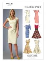 แพทเทิร์นตัดเดรสสตรี มิกซ์แอนด์แมช Vogue 8972 ไซส์ปกติ Size: 6-8-10-12-14 (อก 30.5-36 นิ้ว)