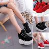 รองเท้าผ้าใบเสริมส้น ไซต์ 35-39 สีดำ,แดง