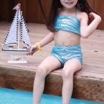 ชุดว่ายน้ำนางเงือก สีฟ้า (ชุด3ชิ้น) แพ็ค 5ชุด ไซส์ 7-7-9-11-13