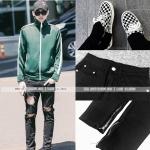กางเกงยีนส์ BLACK ZIPPER Sty.KRIS [DENIM-04] -ระบุไซต์-