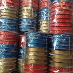 ริบบิ้นห่อเหรียญ ลาย ยี่ห้อระฆัง ม้วนเต็ม 50 หลา แพ็ค 12 ม้วน