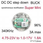 โมดูลเรกูเลต Mini LM2596 step down แปลงไฟจาก 23-4.75V เป็น 17-1V กระแส 1.8A สูงสุด 3A