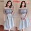 F9718 Set 2 Pieces เสื้อตัวสั้น แขนตุ๊กตา + กระโปรงยาว สีเทา thumbnail 2