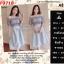 F9718 Set 2 Pieces เสื้อตัวสั้น แขนตุ๊กตา + กระโปรงยาว สีเทา thumbnail 1