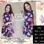 F9661 Dress เดรสแขนกุด คอจีน สีกรม ลายดอกกุหลาบ แต่งระบาย 2 ชั้น มีซิปหลัง thumbnail 1