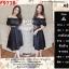 F9728 Set 2 Pieces เสื้อตัวสั้น แขนตุ๊กตา + กระโปรงยาว สีดำ thumbnail 1