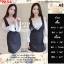 F9654 Dress Set 2 ชิ้น เสื้อปาดไหล่ ลายดอก สีชมพูอ่อน + เอี๊ยมกระโปรงสีดำ thumbnail 1